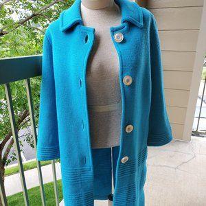 Vintage turquoise wool, sweater  coat